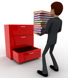 3d man putting books inside lower drawer of cabinate concept Royalty Free Stock Photography