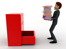 3d man putting books inside lower drawer of cabinate concept Stock Image