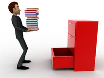 3d man putting books inside lower drawer of cabinate concept Royalty Free Stock Image