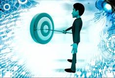 3d man putting dart on target board illustration Royalty Free Stock Photos