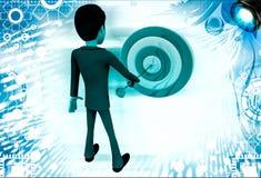3d man putting dart on target board illustration Stock Photo