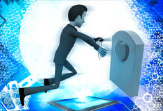 3d man putting flower on grave stone of his love illustration Royalty Free Stock Photo