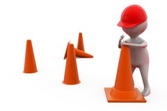 3d man putting traffic cone concept Stock Photo