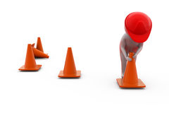 3d man putting traffic cone concept Royalty Free Stock Photography