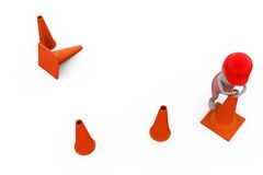 3d man putting traffic cone concept Royalty Free Stock Photos
