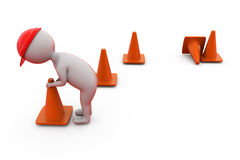 3d man putting traffic cone concept Stock Photos