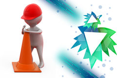 3d man putting traffic cone illustration Royalty Free Stock Images