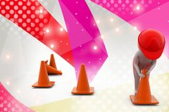 3d man putting traffic cone illustration Stock Photo