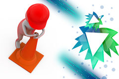 3d man putting traffic cone illustration Stock Photography