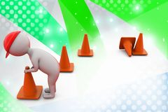3d man putting traffic cone illustration Royalty Free Stock Photo