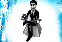 3d man with puzzle and cogwheel illustration Stock Images
