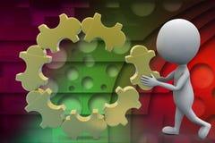 3d man puzzle illustration Stock Photography