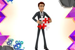 3d character presenting a solved puzzle piece illustration Stock Photo