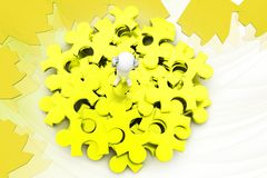 3d man on puzzle pieces illustration Royalty Free Stock Photo