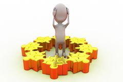 3d man puzzle problem concept Royalty Free Stock Photography