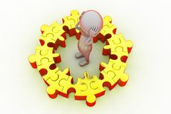 3d man puzzle problem concept Stock Images