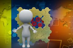 3d man with puzzle and settings illustration Stock Photography
