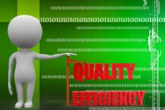 3d man with quality efficiency illustration Royalty Free Stock Photos