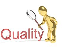 3d man with quality. 3d man with magnifying glass and quality word on white Royalty Free Stock Photos