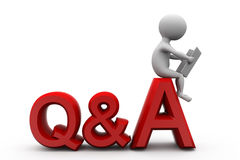 3d man question answer concept Stock Photo