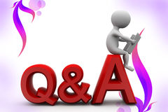 3d man question answer  illustration Stock Images