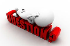 3d man question concept Royalty Free Stock Photography