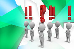 3d man question and exclamation mark illustration Stock Image