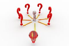 3d man with question mark and bulb concept Royalty Free Stock Photography