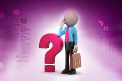 3d man with question mark Stock Photography