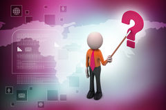 3d man with question mark. In color background Stock Photo