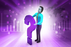3d man with question mark. In color background Royalty Free Stock Photography