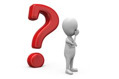 3d man question mark concept Royalty Free Stock Images