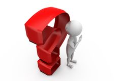 3d man question mark concept Royalty Free Stock Photos