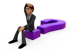 3d man on question mark concept Royalty Free Stock Photos