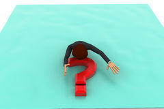 3d man on question mark concept Stock Photography