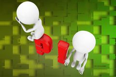 3d man question mark and exclamation mark illustration Stock Photos