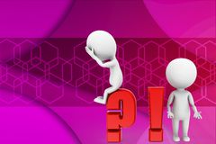 3d man question mark and exclamation mark illustration Royalty Free Stock Photo