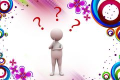 3d man with question mark illustration Stock Photography