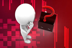 3d man and question mark inside briefcase illustration Royalty Free Stock Photo