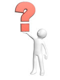 3d man with question mark Royalty Free Stock Photo