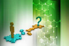 3d man and question mark on puzzle. In color background Stock Photo