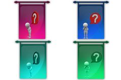 3D Man question mark in speech bubble concept icon Royalty Free Stock Image
