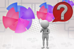 3d man question mark in speech bubble  illustration Royalty Free Stock Photos
