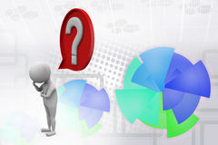 3d man question mark in speech bubble  illustration Royalty Free Stock Photography