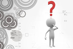3d man question markillustration Royalty Free Stock Photography