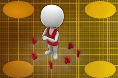 3d man question marks illustration Stock Images