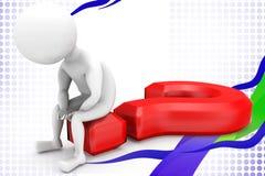 3d man question sign  illustration Stock Photos