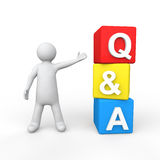 3d man with questions and  answers cubes Royalty Free Stock Photos