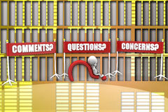 3d man Questions, Comments and Concerns illustration Stock Images