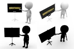 3d man questions Concept Collections With Alpha And Shadow Channel Stock Image